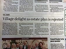 Planning Application Turned down, Harborough Mail newspaper report